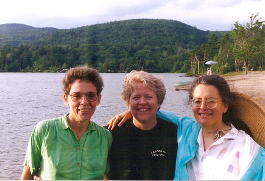 Summer of 1995, from right: Shulamith Firestone, Carol Hanisch, Kathie Sarachild. All were contributors to Notes from the First Year in 1968. Almost three decades later they try to sum up experience and have some fun at North-South Lake, New York. Photo: Dan Harmeling
